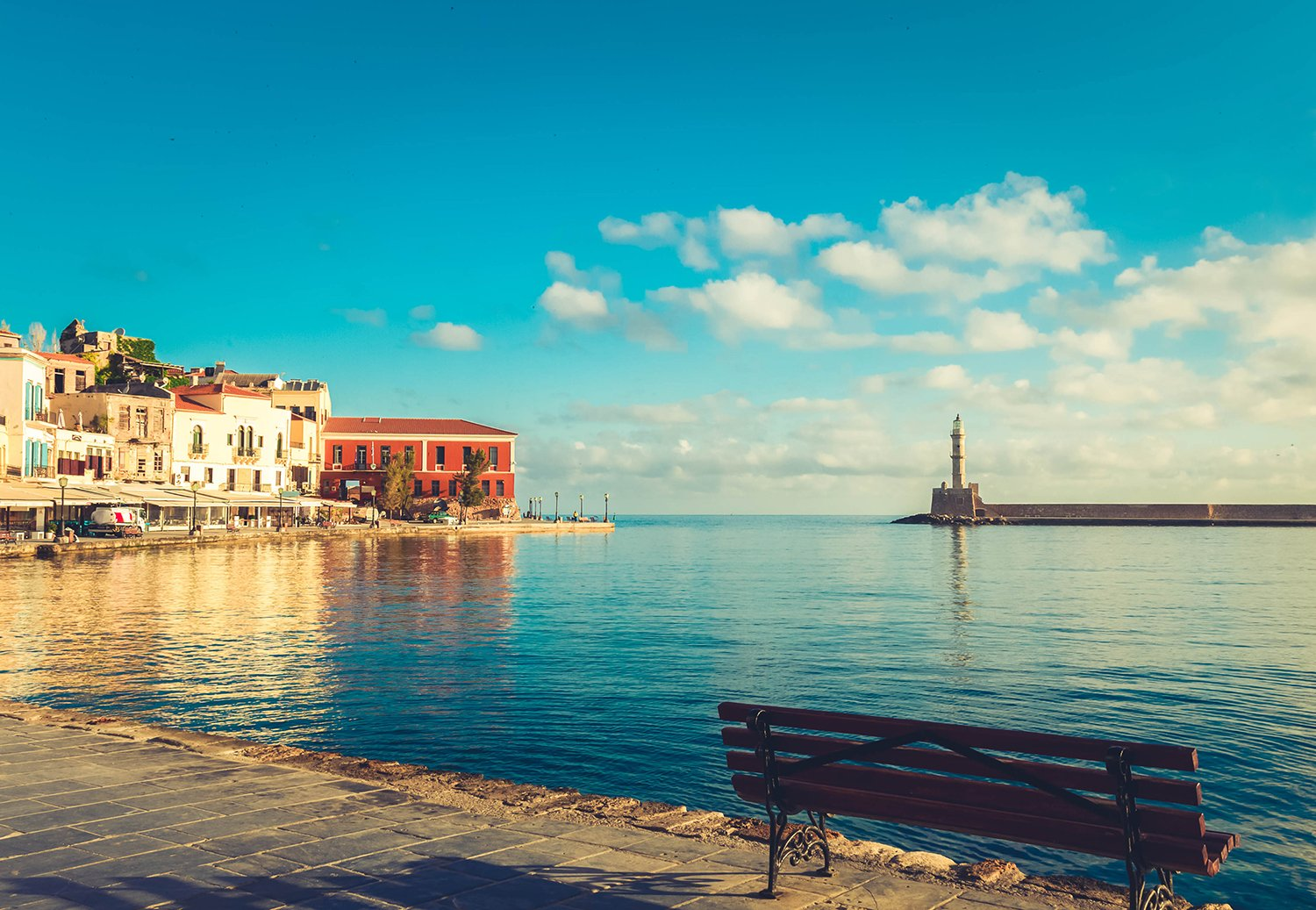 famouse venetian embankment of Chania old town, Crete, Greece, toned